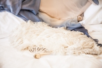 Vintage ostrich feather wedding fan