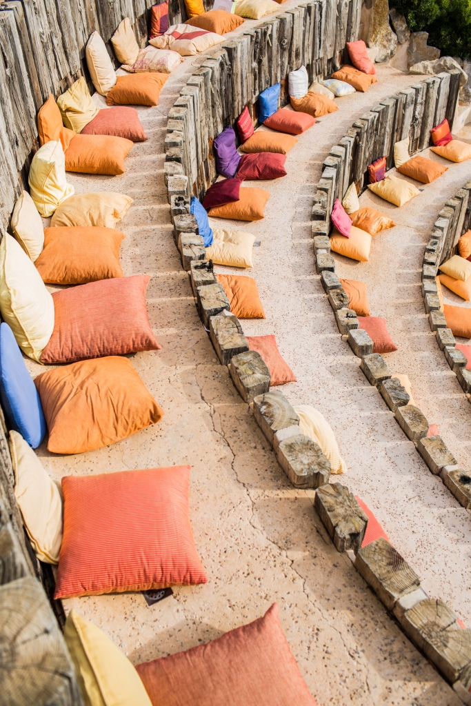 Cushioned seating in the amphitheatre for the Wedding guests.
