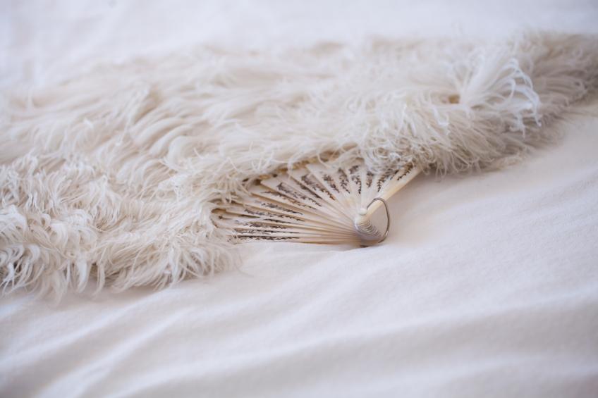 White vintage ostrich feather fan.