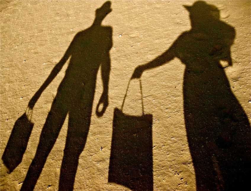 Shadows of a married couple on their honeymoon.