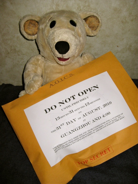 Ted with a mission impossible envelope.