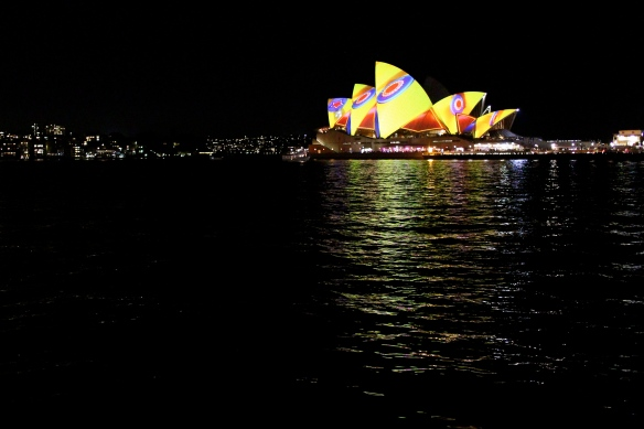 The Sydney Opera House illuminated.