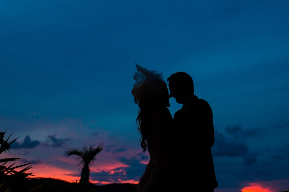 Wedding silhouette as the sunsets.
