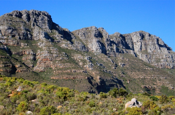 Moutains and blue sky on the Western Cape, South Africa.