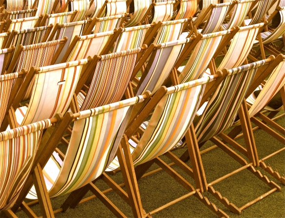 Striped deck chairs.
