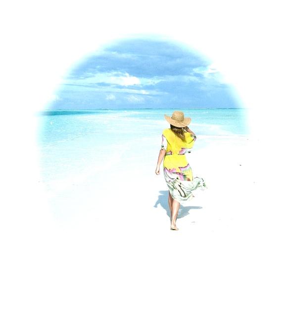 Lady walking on a beach.