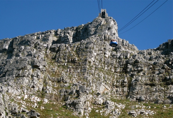 The cable car to the top of Table Mountain, Cape Town.