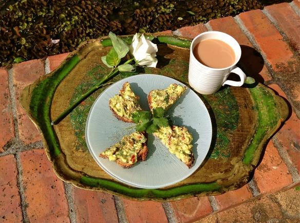Breakfast on a tray.