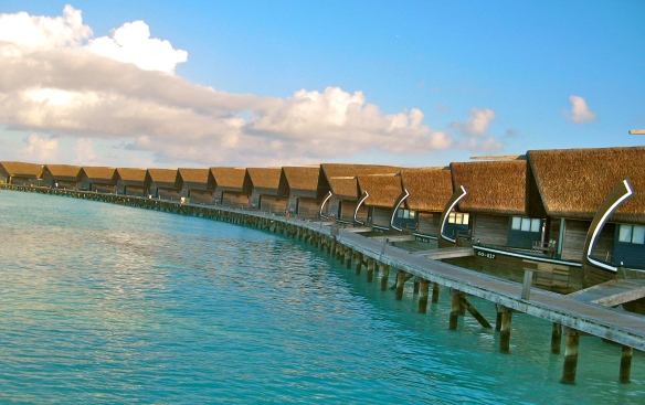 Boat houses in the Maldives.